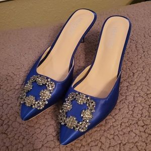 Blue Satin Heel Manolo Blahnik dupe